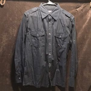 I jeans-wear snap button black plaid shirt used